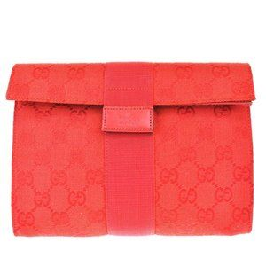 GUCCI GG Pattern Clutch Hand Bag Canvas Leather Re